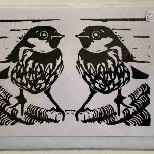 Art Card – Two Black Sparrow (lino)