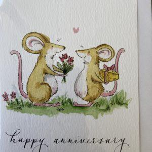 Art Card – Happy Anniversary (mice flowers)