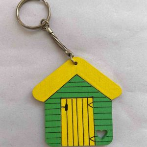 Keyrings – Green/Yellow Beach Hut