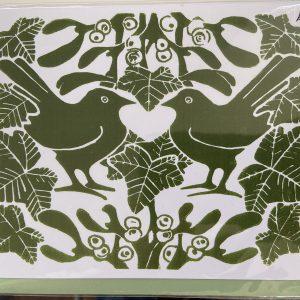 Art Card –  Mistletoe Green Birds (Xmas Range)