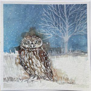 Art Card –  Owl in the Snow (Xmas Range)