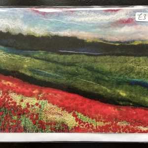 Art Card – Poppies Landscape (MTB) Felted Reproduction
