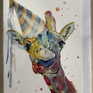 Art Card – Giraffe with Party Hat