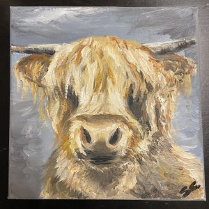 Original Paintings – Highland Cow (SC) (colour face)
