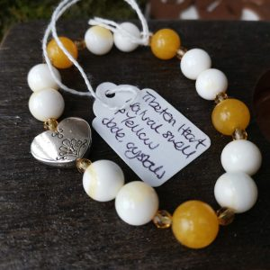 Jewellery – Tibeton Heart, natural shell & yellow jade crystals