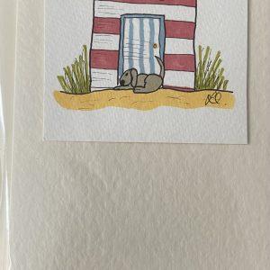 Art Card – Red Beach Hut & Sleeping Dog (original artwork)