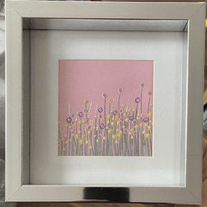 Original Paintings – Flowers (pink background)
