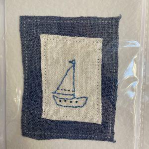 Art Card – Blue and White Ship (original textile)