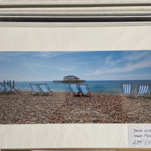Mounted Prints – West Pier, Brighton with Deckchairs