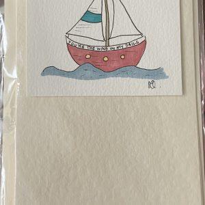 Art Card – Red Boat (blue stripe sail)