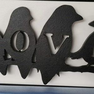 On Wood – Love Birds (black)