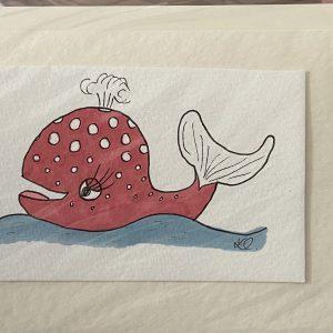 Art Card – Red Whale (original artwork)