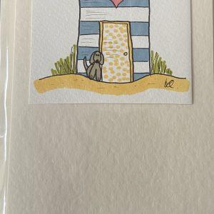 Art Card – Blue Beach Hut (original artwork)