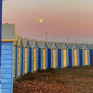 Art Card – Beach Huts (Sunset Moon)