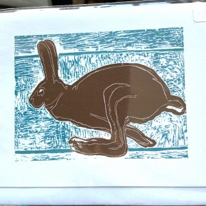Art Card – Brown Hare (blue background lino)