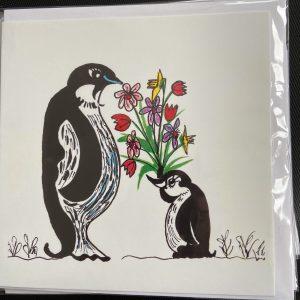 Art Card – Penguin Flowers