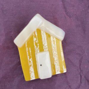 Glass Design – Beach Hut Brooch (yellow)