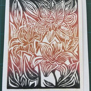 Art Card – Flowers #4 (black/red)