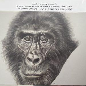 Art Card – Ape – Winner of January Blues – Art Wildlife Category