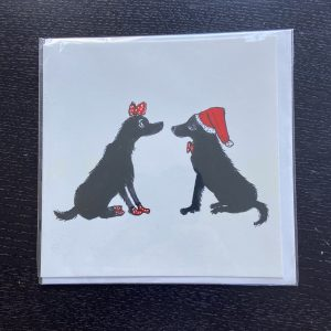 Art Card – 2 dogs (hat & bow) (Xmas Range)